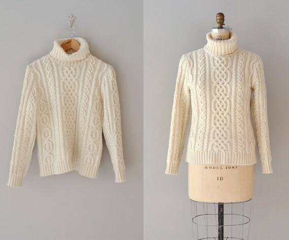 cable knit sweater / fisherman's sweater / cream cable knit turtleneck