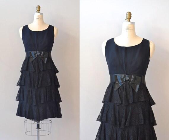 1960s dress / black lace 60s dress / Trio 1964 dress