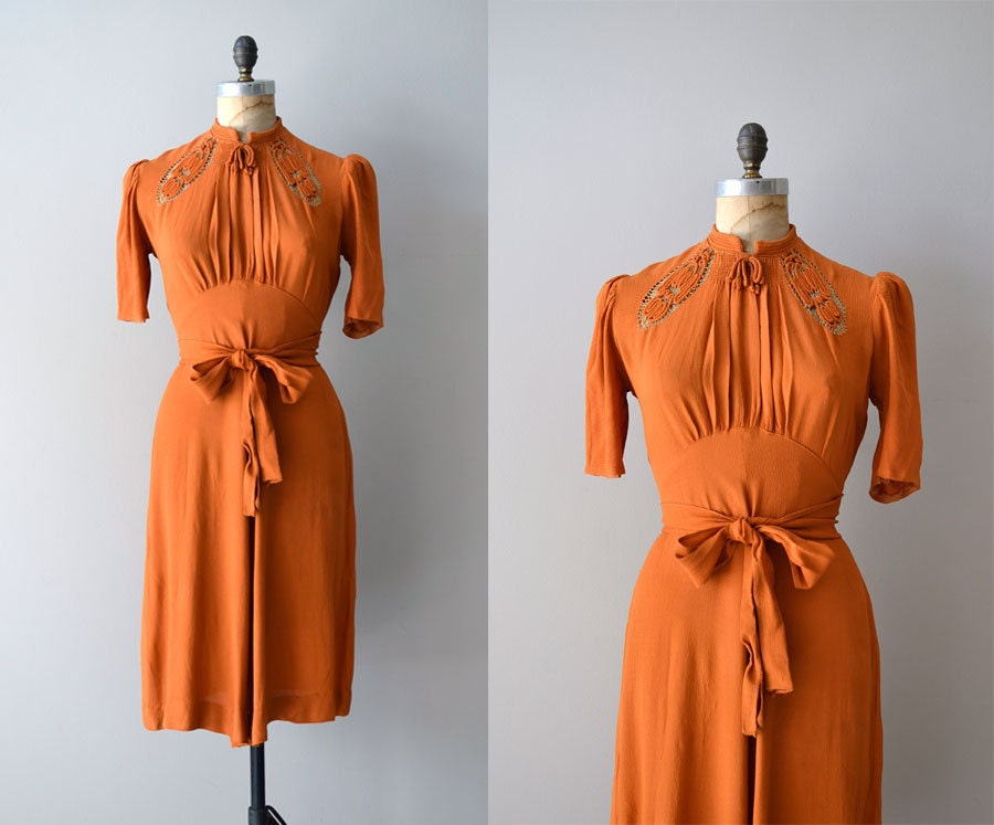 1930s Dress / Rayon 30s Dress / The St. Louis Shag