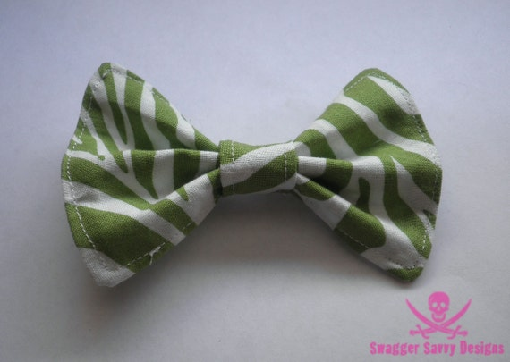 Large Green and White Zebra Print Fabric Hair Bow