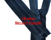 One 18 inch Vislon Jacket Zipper YKK 5 Molded Plastic Medium Weight  Separating Bottom - Select Length and Color