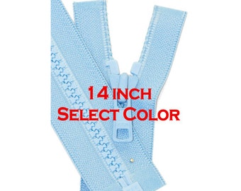 YKK Molded Plastic Jacket Zipper-One 14 inch Vislon Jacket Zipper YKK 5 Molded Plastic Medium Weight  Separating - Select Length and Color