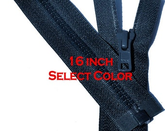 One 16 inch Vislon Jacket Zipper YKK 5 Molded Plastic Medium Weight  Separating Bottom - Select Length and Color