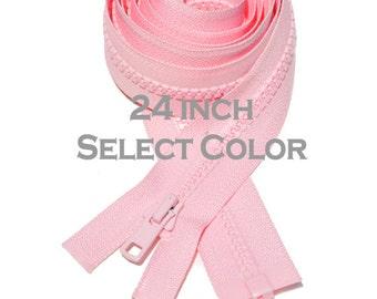 One 24 inch Vislon Jacket Zipper YKK 5 Molded Plastic Medium Weight  Separating Bottom - Select Color