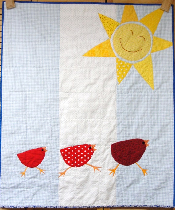 Baby quilt with three red birds and sun- appliqued, hand embroidered- yellow, blue, white, red, nursery, USA PRIORITY Shipping