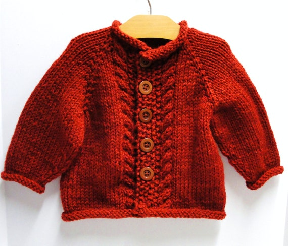 "Baby cardigan sweater- ""Red Velvet Cake"" long-sleeved with cables 18 month size"