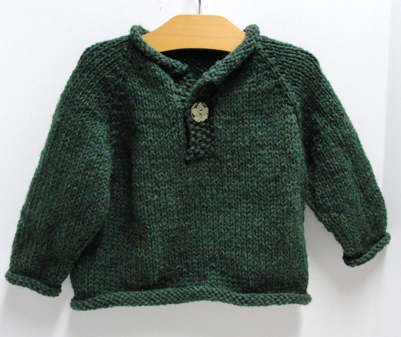 """Pullover baby sweater- ''Evergreen""""' - long sleeves, hand knit, single button pullover in 12 month size"""