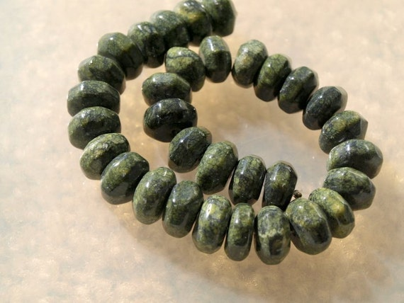 Russian Serpentine Faceted Rondells (2343)