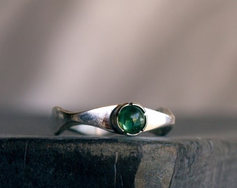 Green Tourmaline Stacking Ring Sterling silver ring Unique Modern design part of a stacking ring set MADE TO ORDER