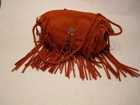 Burnt Western Sunset Fringed Bag