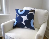 Marimekko PILLOW cover - cushion sham - throw pillow in mod blue poppies flowers - Scandinavian home decor (only 1 - ready to ship)