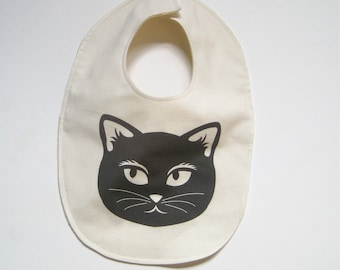 Organic BABY Cat Bib - Drooling Food Bib in Black and White Mischevious Cat - Eco Friendly Toddler Bib