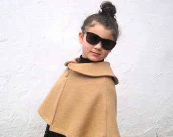 Camel Girls Cape with Peter Pan Collar - Boiled Wool Capelet  Size 3T to 5T - Brown Fall Winter Shrug - Modern Kids Fashion