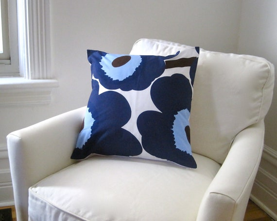 Marimekko PILLOW cover - cushion sham - throw pillow in mod blue poppies flowers - Scandinavian home decor (only 1 - ready to ship)