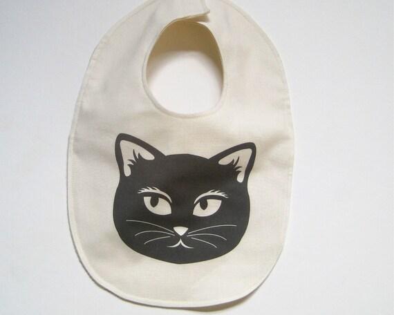 Organic BABY Cat Bib - Drooling Food Bib in Black and White Mischevious Cat - Eco Friendly Toddler Bib