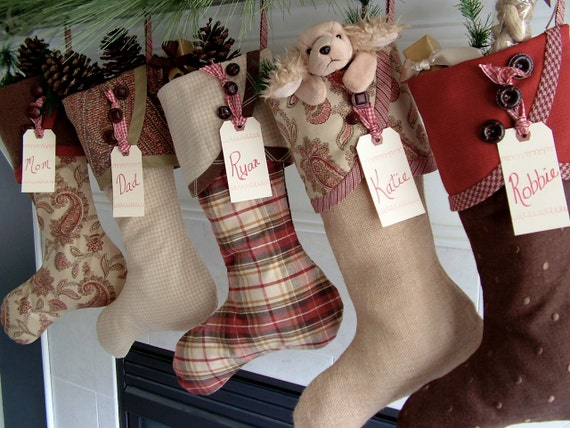 No. 4 Christmas Spice Droopy Toed Burlap Stocking in golds, browns, reds and greens