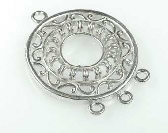 One Large Solid Sterling Silver CHANDELIER earring part Fancy Pendant Boho CIRCLE 36mm