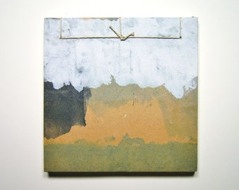 Earthy Mini Sketchbook - Recycled Materials - Painted Brown Paper Bag Cover - Stab Bound