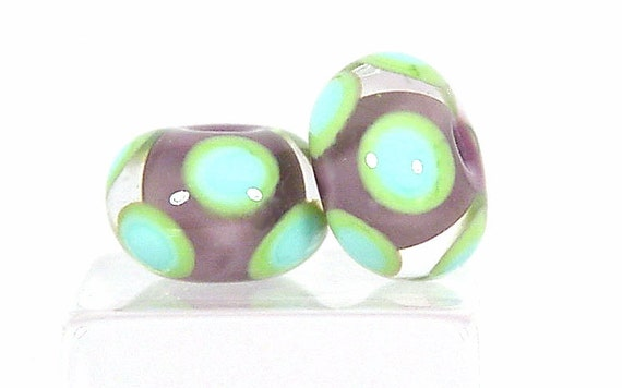 Lampwork EARRING PAIR-Violet Encased Dot Bead Set -Sharpline Designs SRA