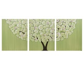 Green Tree Painting on Triptych Canvas - Medium 35x14