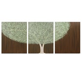 Canvas Art - Large Tree Painting - Original Textured Art Triptych 50X20 - Brown and Green Home Decor - IN STOCK - Amborela