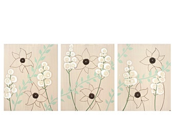 Textured Flower Nature Art Painting - Brown and Green Triptych Art on Canvas - Large 50x20