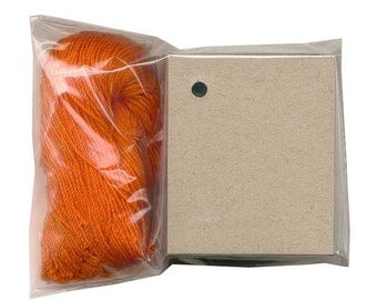 "100 BLANK KRAFT Hang Tags/Pumpkin Strings. Size 1-3/4""x 2-1/8"""