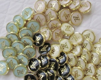 """Adrienne Vittadini Monogram Buttons - Your Choice of 18, Mix and Match or All the Same - 9/16"""""""