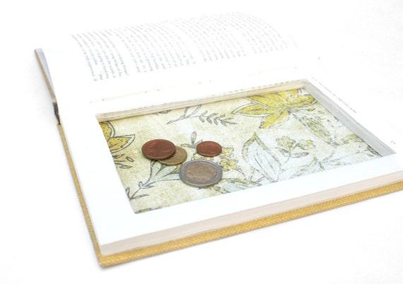 Sale / Hollow Book Box - Christian Themed Small Yellow Vintage Book Secret Storage Booksafe Moneysafe Card Box Christian - READY TO SHIP
