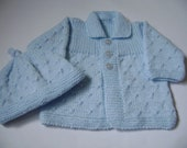 Hand Knitted Baby  Sweater and Hat Set. REDUCED PRICE.  Newborn Boy  Set 0 to 3 Months.  Antiallergic Yarn