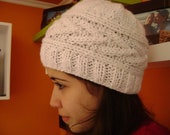 Hand Knitted  White Beanie. REDUCED PRICE.  Handmade Adult Hat.