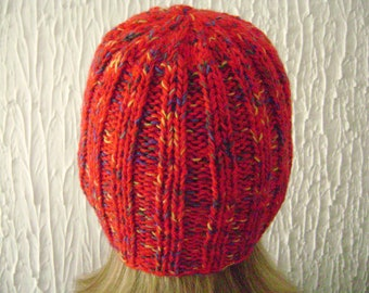 Knitted Womens  Hat. Reduced Price  Beanie Hat. Acrylic Yarn