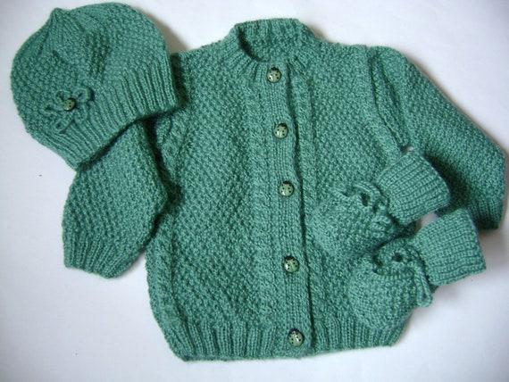 ON SALE  Knit Winter Baby Set  3 to 6 Months Wool Yarn