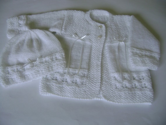 Knit Christening Sweater and  Hat Newborn to 3 Months READY TO SHIP