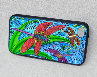 Dancing Dragonflies Rubber iPhone case, cover, iPhone 4, iPhone 4s, iPhone 5, iPhone 5s