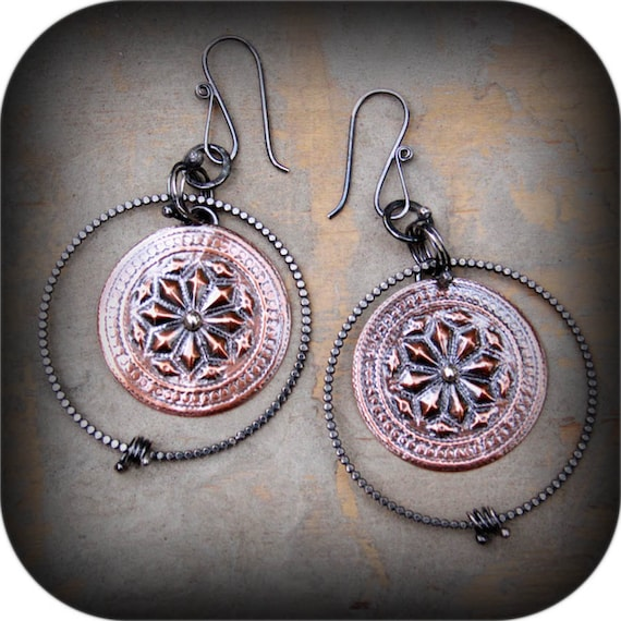 Made to Order: Wayfarer Earrings- Sterling Silver and Copper Dangles