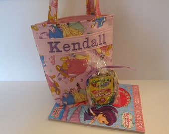 Belle, Cinderella, Sleeping Beauty, Princess, Kids Tote, New Fabric, Crayon Roll, Personalized, Design Your Own, 100s Fabric Choices