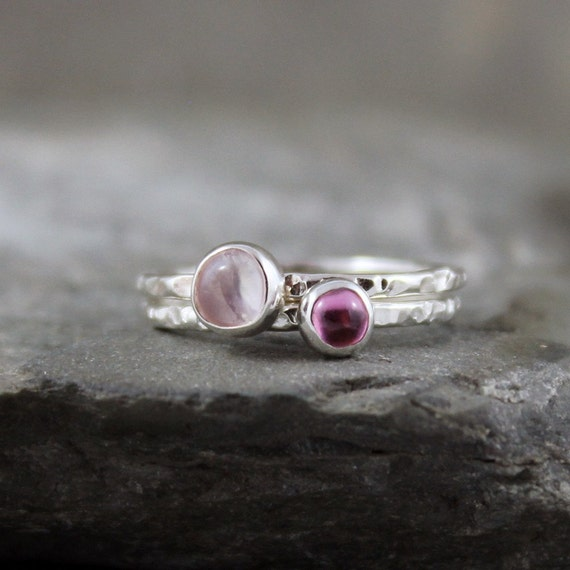 Pink Tourmaline and Moonstone Sterling Silver Stacking Ring  Set-  October Birthstone - Handmade and Designed by A Second Time