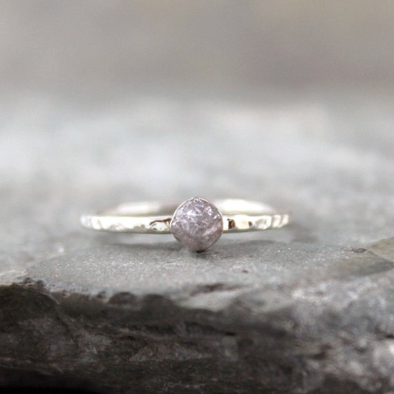 Rough Diamond Solitaire Ring Bezel Set in Sterling Silver - Engagement Ring - Stacking Ring - Promise Ring