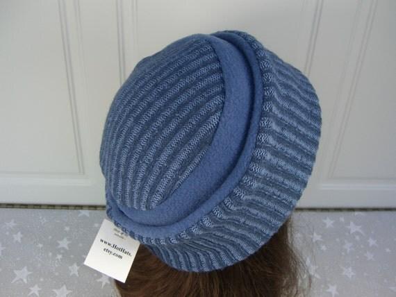 Upcycled Medium Blue SWEATER HAT pillbox style, Women's Fleece Hat, Sweater Pillbox Hat, Women's Winter Hat