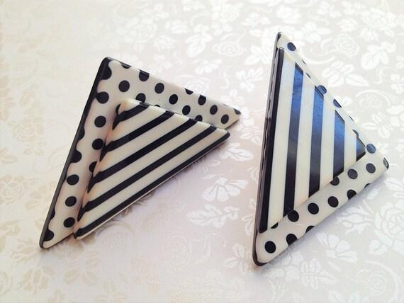 Vintage Black and White Earrings. Acrylic. Triangle. Bold. Angular. Retro. Polka Dot. Stripes. Minimalist. 1980s.