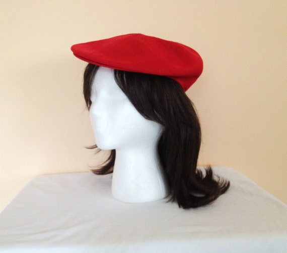 Vintage Red Classic Cap. Hat. Kangol. Made in England. Mesh. Standard Size. 1990s. Unisex.