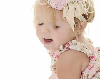 Headband to match Antique Inspired Petti Baby Lace Rompers with rolled roses, ostrich feathers, crystals, and pearls