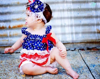 Set 4th of July Patriotic Petti Lace Ruffle Romper size small , medium, or large plus headband