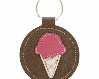 Mally Designs Key Fob Round Leather Keychain Key Holder Ring - Fuchsia Ice Cream Cone Design on Chocolate Brown