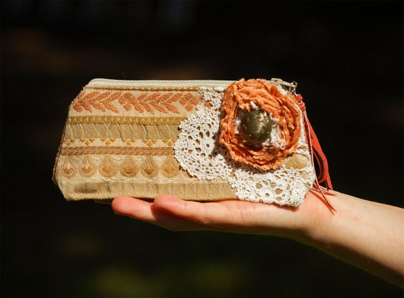 Copper River Keepsake Pouch - ReCycle RePurpose Pencil bag Terracotta burnt orange tangerine olive taupe salmon leather fringe