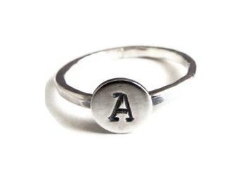 Personalized Mini Monogram Ring in Typewriter font, stacking ring, silver ring, initial ring