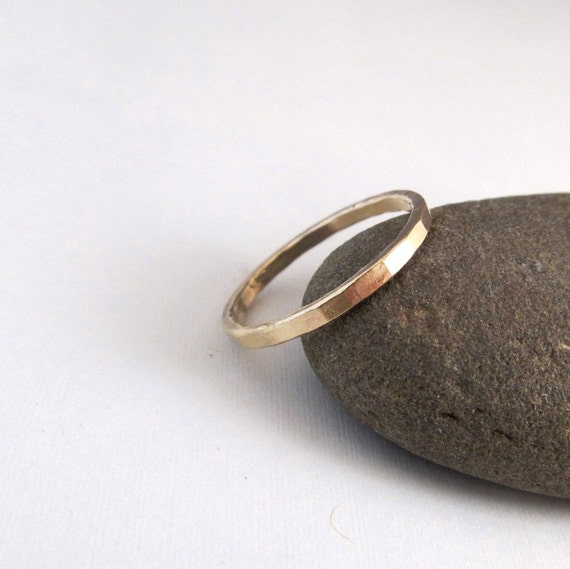 Gold Band - Stackable Hammered Band - Gold Ring - Slim Gold Band
