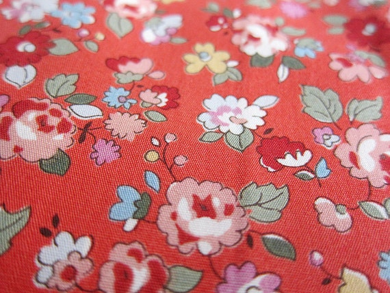 Floral Cotton Fabric - Retro Floral on Dusty Red - Half Yard