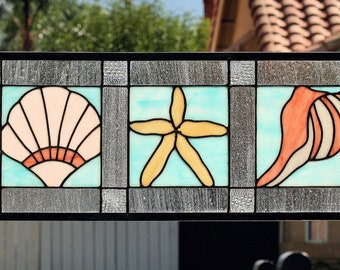 SEA SHELLS - Large Stained Glass Window Panel or Transom,  Aqua Blue, Sand Beige, Coral, Pink, Starfish, Conch Shell, Scallop Shell, Ocean